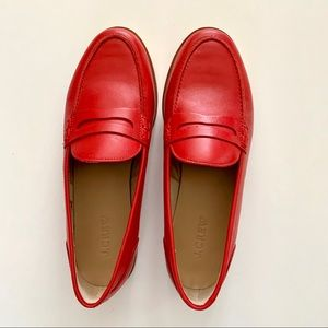 NIB J. Crew Ryan Penny Loafers in Red, Size 8